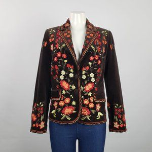 Malvin Brown Flower Embroidered Jacket Size M